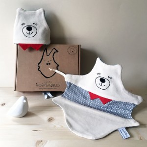 coffret - cadeau -jumeaux - doudou -ours - bleu