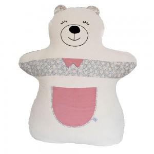 doudou géant ours rose en matière naturelle
