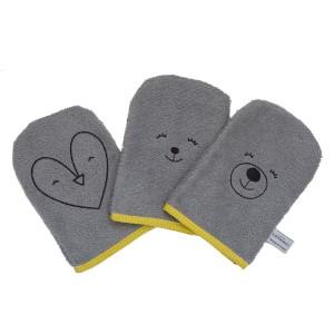 Coffret cadeau de naissance 3 gants de toilette en coton biologique