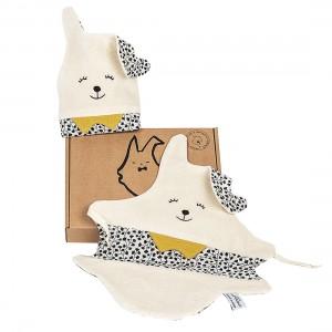 juste-inseparables-doudou-bienveillant-naissance-bebe-coffret-deux-lapins-noir-et-blanc