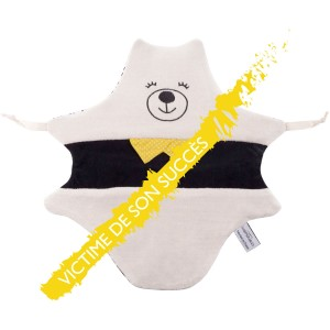 doudou ours noir et blanc made in france