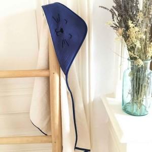 cape de bain bébé bleu en coton bio  juste inséparables
