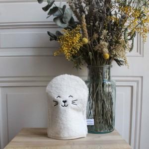 gant de toilette brodé chat pour bébé