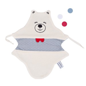 doudou plat made in france juste inseparables doudou ours bleu petillant vu de face