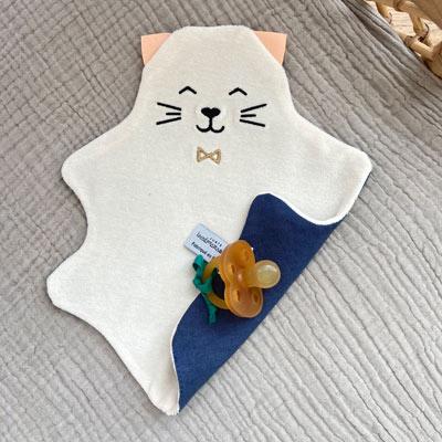 doudou chat lin et coton bio