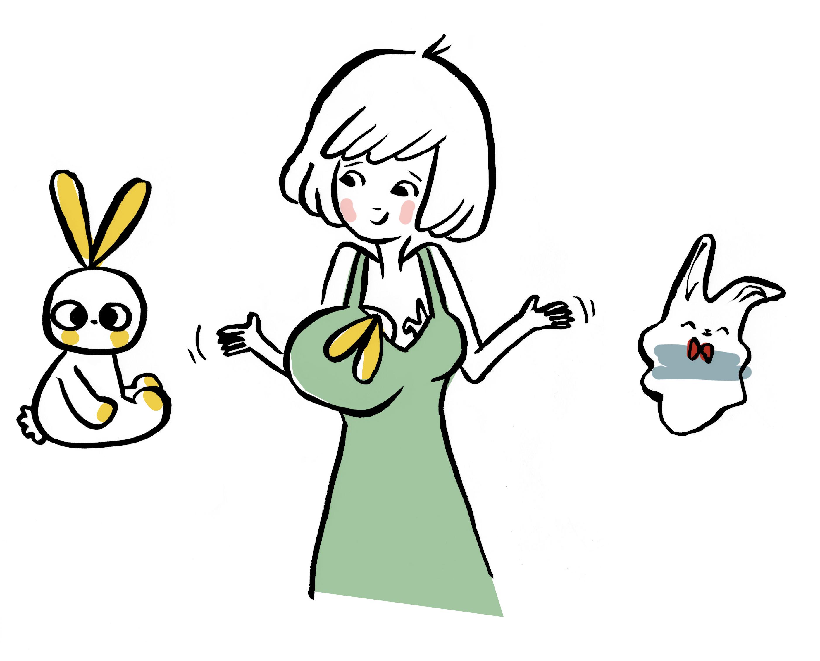 Illustration Annelore Parot pour Juste Inséparables. Doudou plat reprennant l'esprit des langes