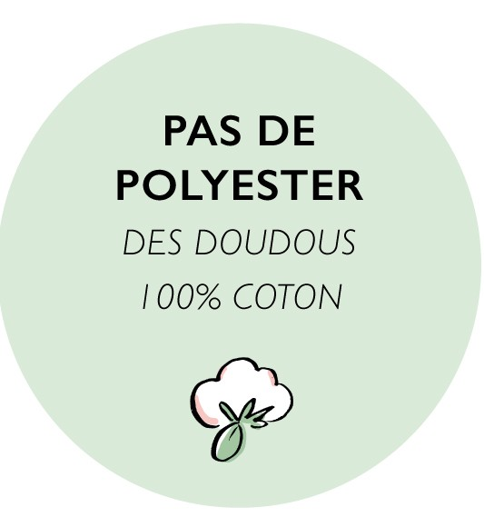 Pas de polyester dans nos doudous, ils sont 100% coton et fabriqué en, France
